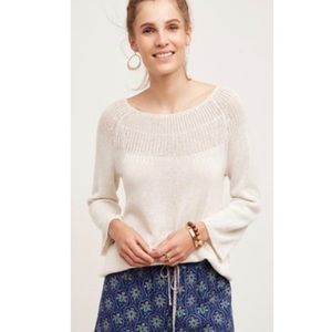 Anthro   Moth Ivory Wide Neck Bell Sleeve Sweater